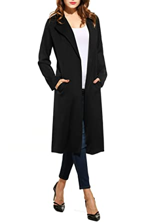 Amazoncom Zeagoo Womens Open Front Long Trench Coat Casual