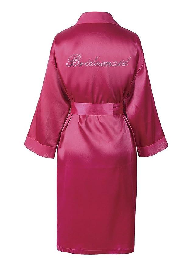 Albornoz personalizado dama de honor de luna de miel, diamantes sintéticos y Satén rosa: Amazon.es: Ropa y accesorios