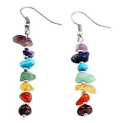 Top Plaza 7 Chakra Healing Crystals and Stones Reiki Ear Hook Ear Drop Ear  Bob Earrings