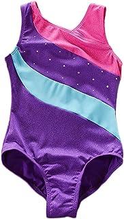 Clispeed Ragazze Drilling Ginnastica Suit Dance Practice Vestiti Bambini Bambini Sparkles Ribbon Ribbon Stripe Hot Set per 7-8Y (Viola)
