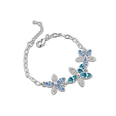 KEBINAI Swarovski Elements Crystal Bracelet Flower Pinellia Korean Fine  Diamonds 76feb18f8882