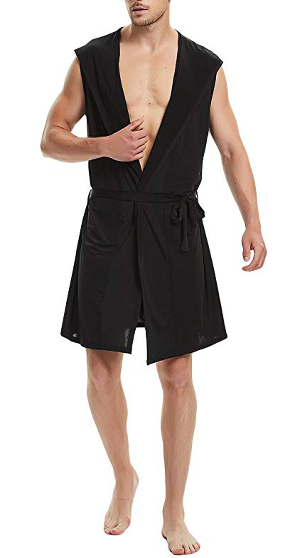 AIEOE Mens Milk Silk Robe Summer Fitness Room Bathrobe Sports Western Surfing Cover up 3XL Black