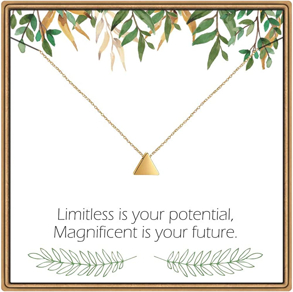 IEFLIFE Graduation Gifts Inspirational Necklaces for Women, Triangle Necklace College High School Graduation Gifts Class of 2020 Graduation Necklace Graduation Gifts for Friend Sister Daughter Niece