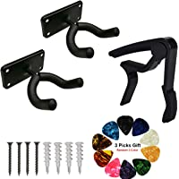 3 in 1 Pack Guitar Wall Mount Hanger Hook Snowboard Skateboard Hanging Holder Steel Base Stand with Guitar Capo