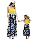 Helisopus Mommy and Me Summer Matching Maxi Dresses,Sleeveless Bohemia Floral Printed Matching Beach Outfits