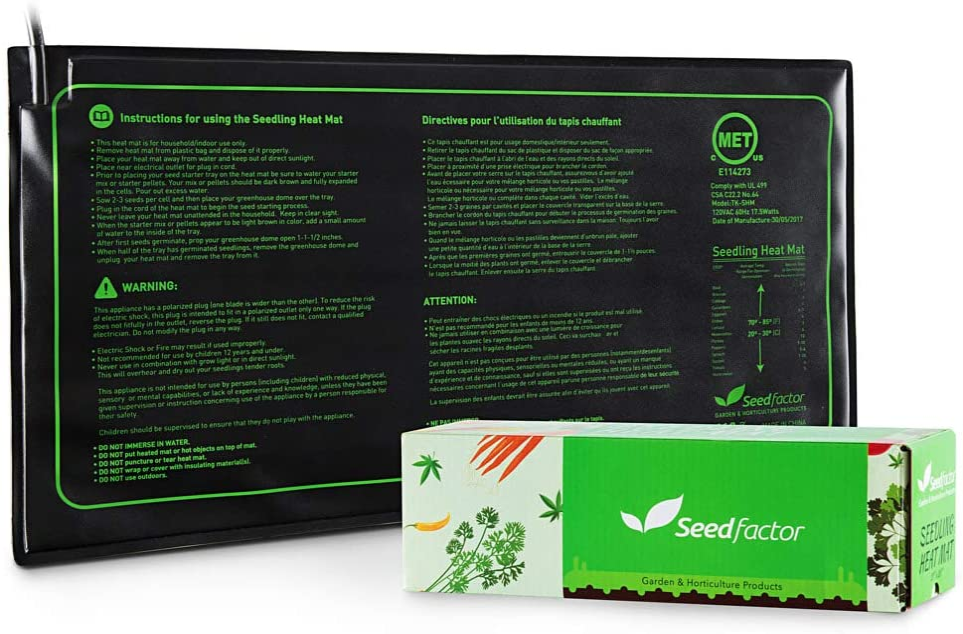 "MET certified Seedling Heat Mat, Seedfactor Waterproof Durable Germination Station Heat Mat, Warm Hydroponic Heating Pad for Indoor Home Gardening Seed Starter(10"" x 20"")"