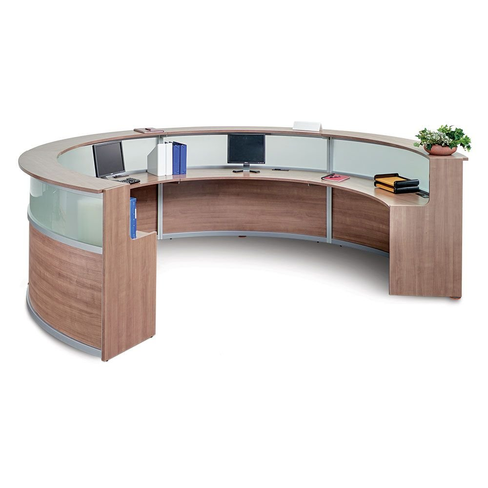 Quad Curved Reception Desk with Glass Panel - 