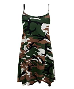 Click Selfie ® New Ladies Sleeveless Plain & Printed Tops Long Cami Swing Dress Green Army 20-22