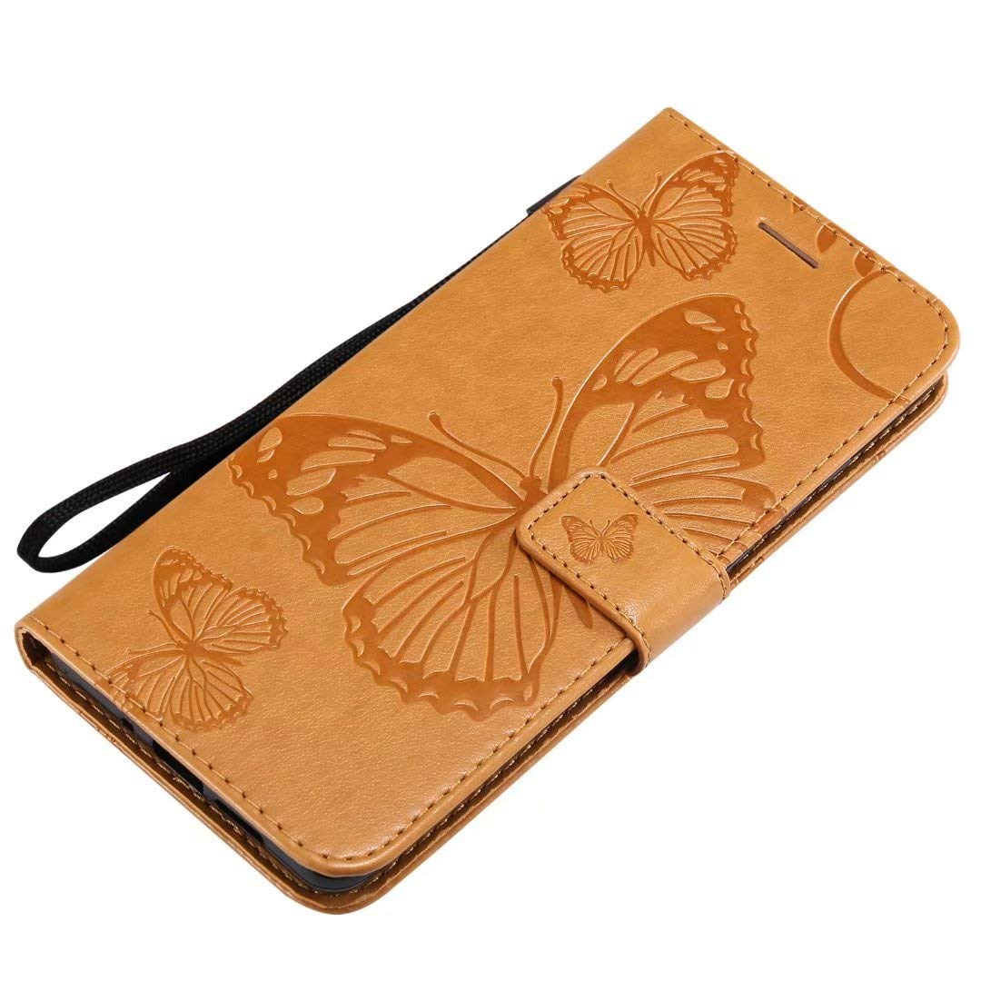 Veapero Google Pixel 3A Flip Case,PU Leather Flip Case Notebook Wallet Cover Embossed Butterfly with Stand Card Holder ID Slots Soft TPU Bumper Protective Skin Case,Dark Blue
