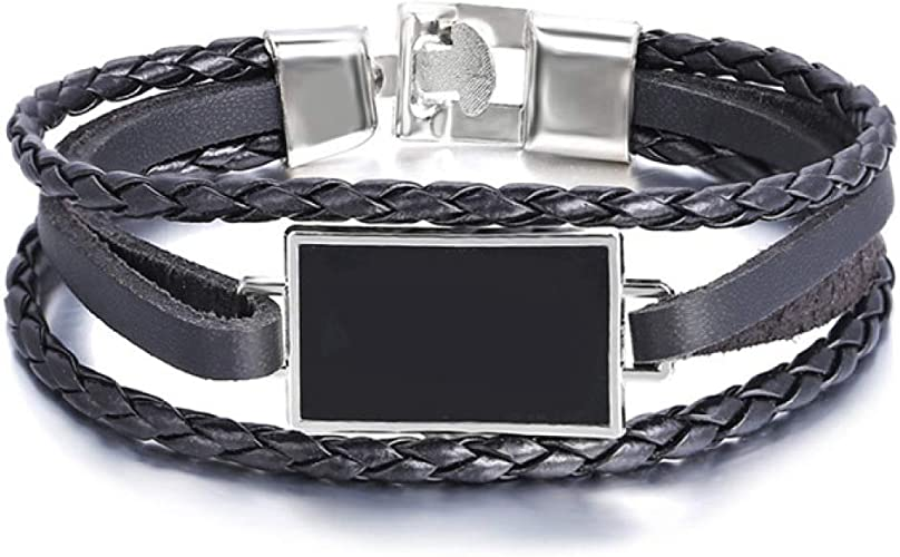 New Punk Unisex Black Leather Wrap Rope Bracelet Magnetic Buckle Charm Bangle