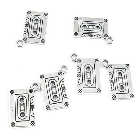 Antiguo tono de plata joyería Making charms suministro zy3052 cintas de casete