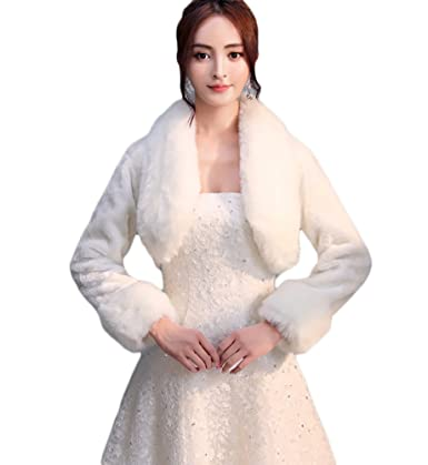 SK Studio Damen Bolerojacke Langarm Braut Bolero Winter Brautjacke Abendkleid Schal