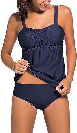 Leslady Bikini Conjuntos de Dos Piezas Beachwear Swimsuit Mujeres Tank Top Deportivo Tankini