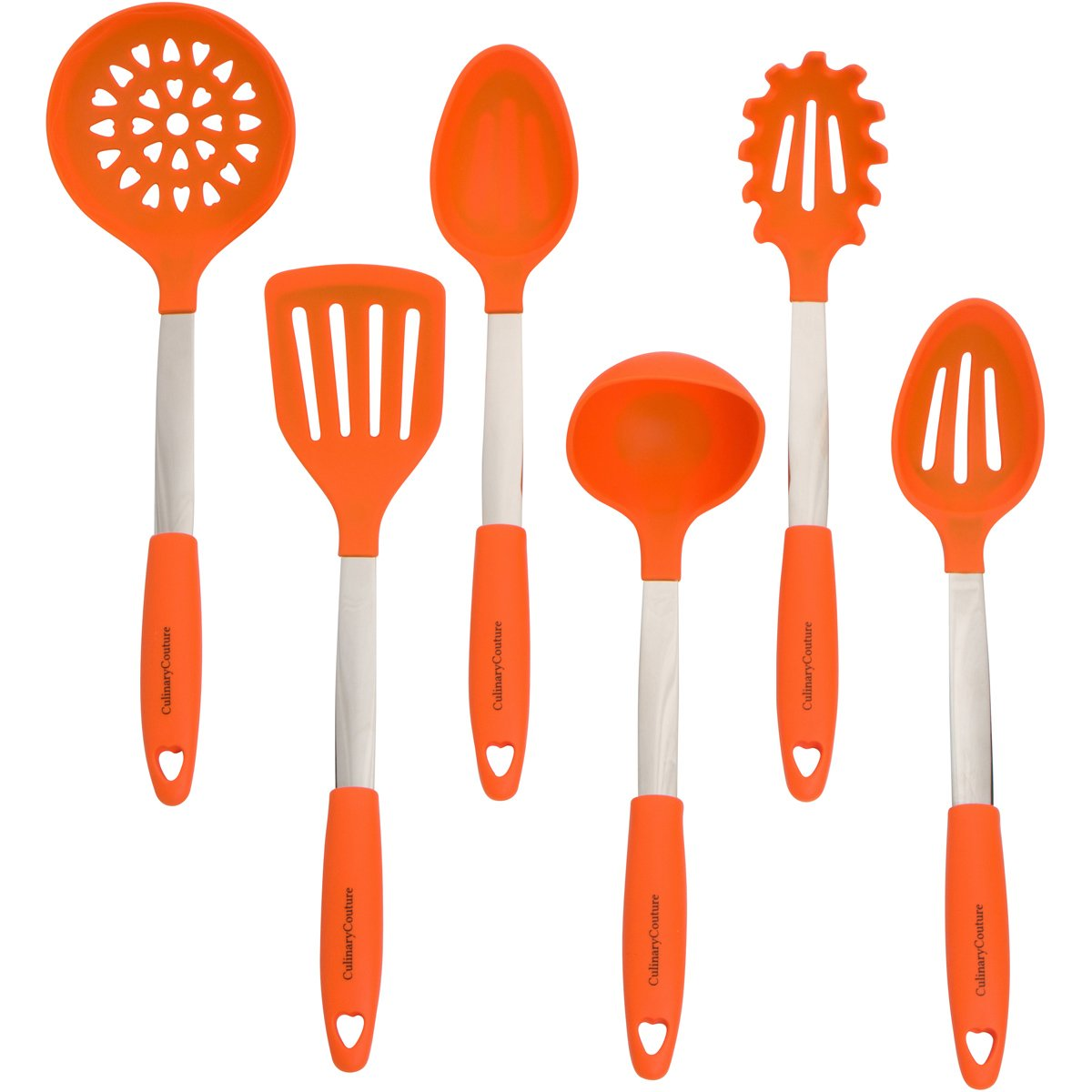 Orange Kitchen Utensil Set - Stainless Steel & Silicone Heat Resistant Professional Cooking Tools - Spatula, Mixing & Slotted Spoon, Ladle, Pasta Fork Server, Drainer - Bonus Ebook!