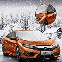 "Car Windshield Snow Cover, Ubegood Windshield Snow and Ice Cover & Sun Shade Protector Waterproof Frost Rain Resistant with Cotton Thicker Protection Cover - Fits for Most Vehicles (72"" x 46"")"