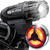 BLITZU Gator 320 PRO USB Rechargeable Bike Light Set Powerful Lumen Bicycle Headlight Free Tail Light, LED Front and Back Rear Lights Easy to Install for Kids Men Women Road Cycling Safety Flashlight