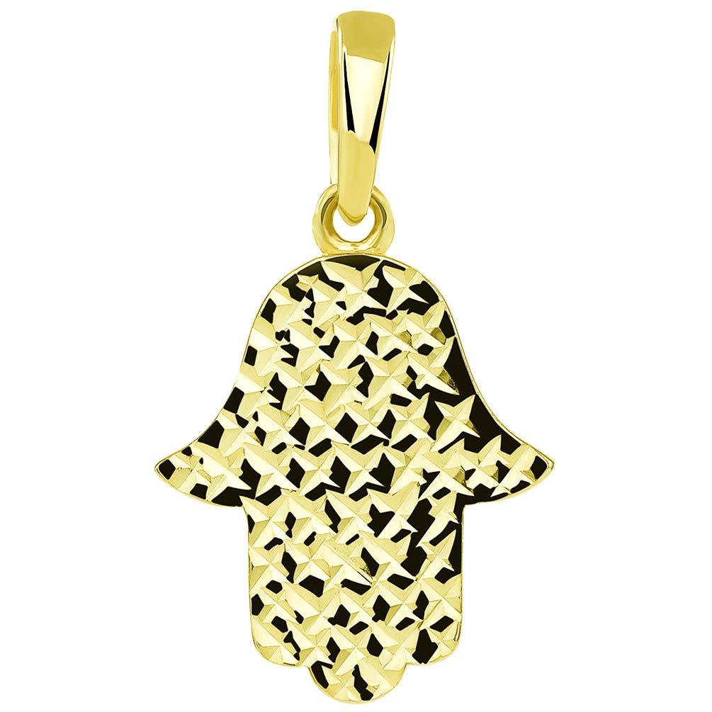 14k Yellow Gold Textured Elegant Hamsa Hand of God Pendant