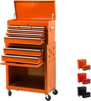 8-Drawer Rolling Tool Chest Portable Removable Tool Cabinet Tool Storage Box Big Tool Chest with 4 Wheels and Sliding Metal Keyed Locking System Drawers Black