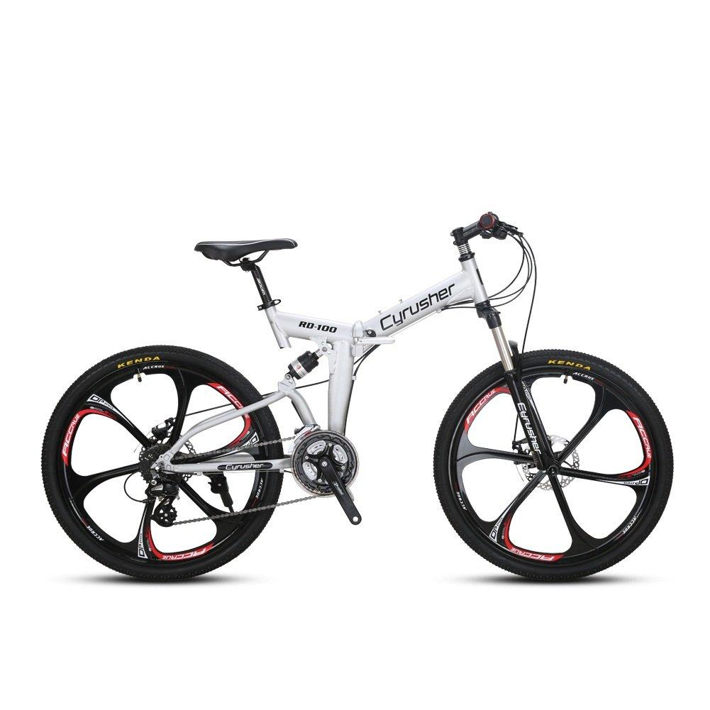 VTSP 100RD MTB 折りたたみ 自転車26インチ マウンテンバイク シマノ24段変速 通勤通学 B0758391D1銀