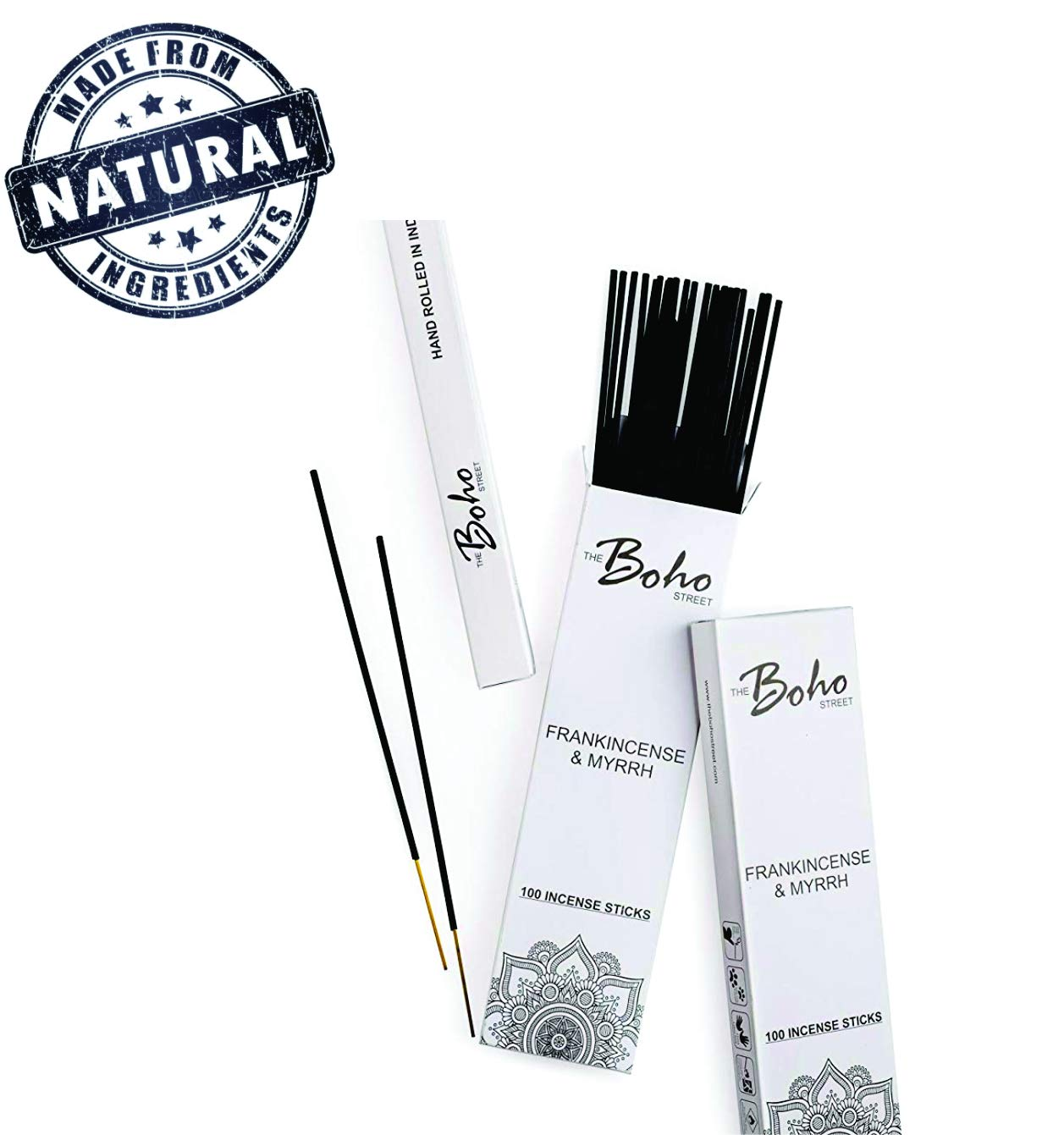 The Boho Street Premium Incense Sticks - Frankincense and Myrrh 100% Hand Rolled Hand Dipped in India 100 Sticks Pack (100)