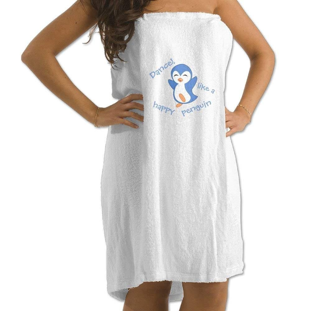 Dance Like A Happy Penguin Women's Towel Wrap,Custom Art Spa Shower and Bath Towels with Adjustable Velcro (One Size,White)