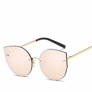 Mode Katze Auge Metall Farbe Sonnenbrille Brille Sonnenbrille , Silber Weiss
