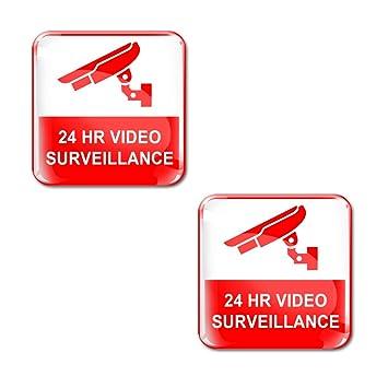 2 X Aufkleber 3d Gel Silikon Stickers 24 Stunden Uberwachungskamera
