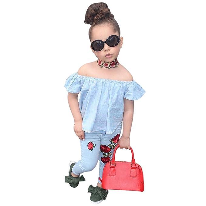 fa5f11e8d8c4 Iuhan Newborn Toddler Kids Girl Off Shoulder Rose Floral One ...