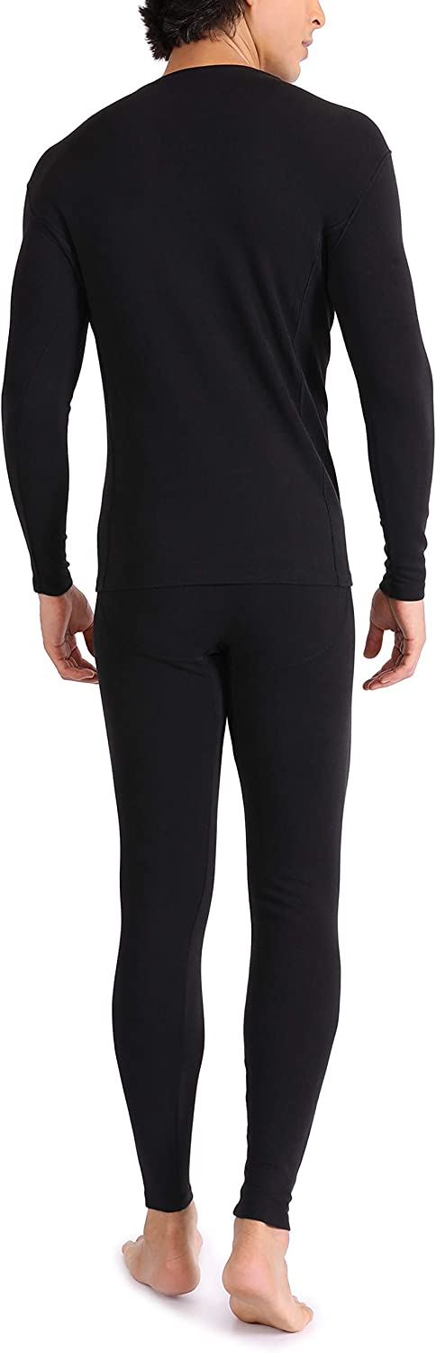 Genuwin Mens Ultra Soft Warm Stretchy Cotton Fleece Lined Base Layer Top /& Bottom Thermal Set Long John with Fly