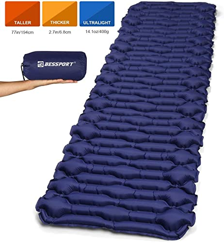 Bessport Camping Sleeping Pad-Mat, Large, Wide , Ultralight 14.1 OZ Camping Mat Pad for Backpacking, Hiking Air Mattress- Lightweight, Inflatable Compact Carrying Bag with Repair Kit