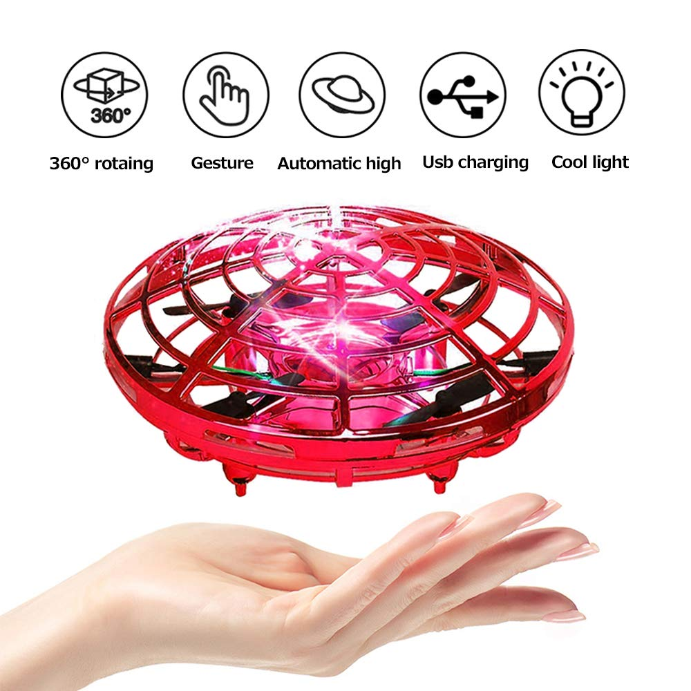 PerfectPromise UFO Flying Toys for Kids, Hand Controlled Mini Drone UFO Toy with 360° Rotating and LED Lights for Children Boys Girls---Red by PerfectPromise