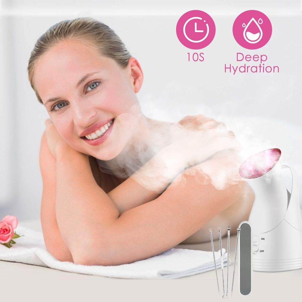 Facial Steamer, 2020 New Nano Ionic Face Steamers Warm Mist Facial Humidifier with 4 Pieces Blackhead Remover Kit for Women Moisturizing Cleansing Pores: Beauty