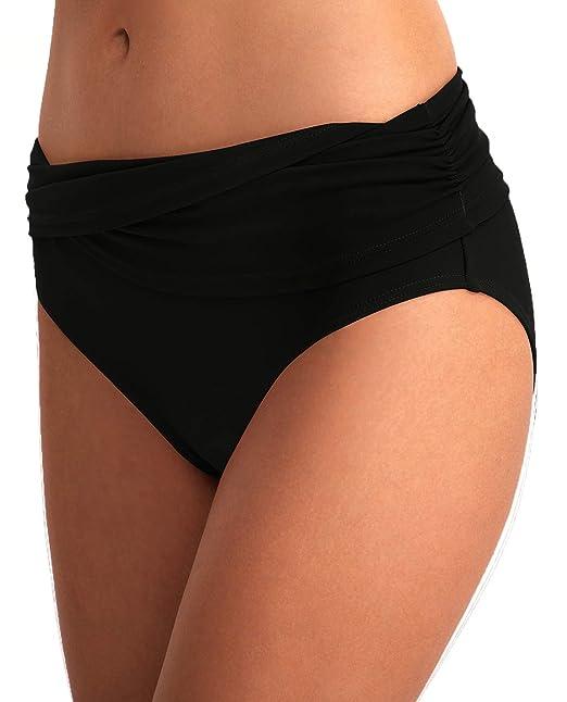 b3d9ee6374588 YOSUNL Women's Bikini Bottom Front Crossover Retro Bikini Bottom Tankini  Briefs Swimsuit Panty Bottoms Black S