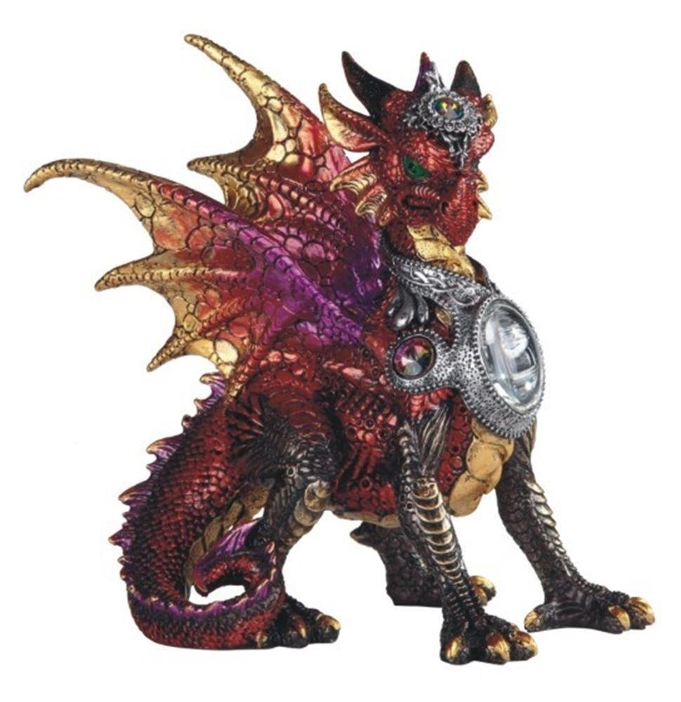"""CDM product GSC StealStreet 8.25"""" Red Dragon in Armor with Stones Collectible Statue Figurine big image"""