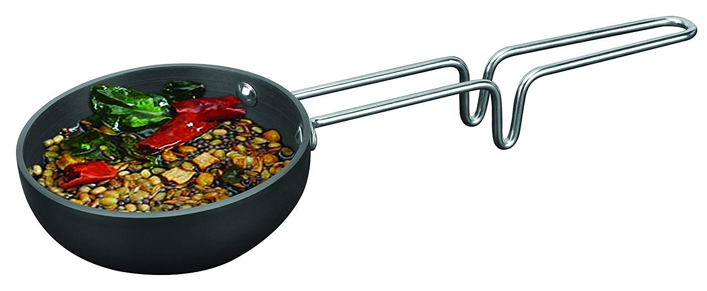 Anika Shopify Non stick Tadka Pan,Hard Anodized Spice Heating,Vagaria Hard Anodized Tadka Pan, Mini Fry Pan, Large Tadka pan,Temper Pan with Steel wire handle,1 Pcs