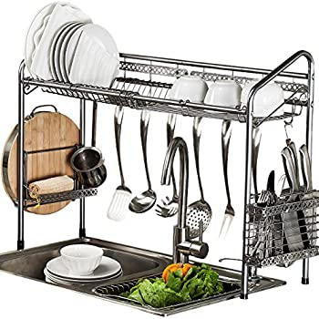 Amazoncom Dozenla 2 Tiers Dish Drying Rack Kitchen Cup Drainer