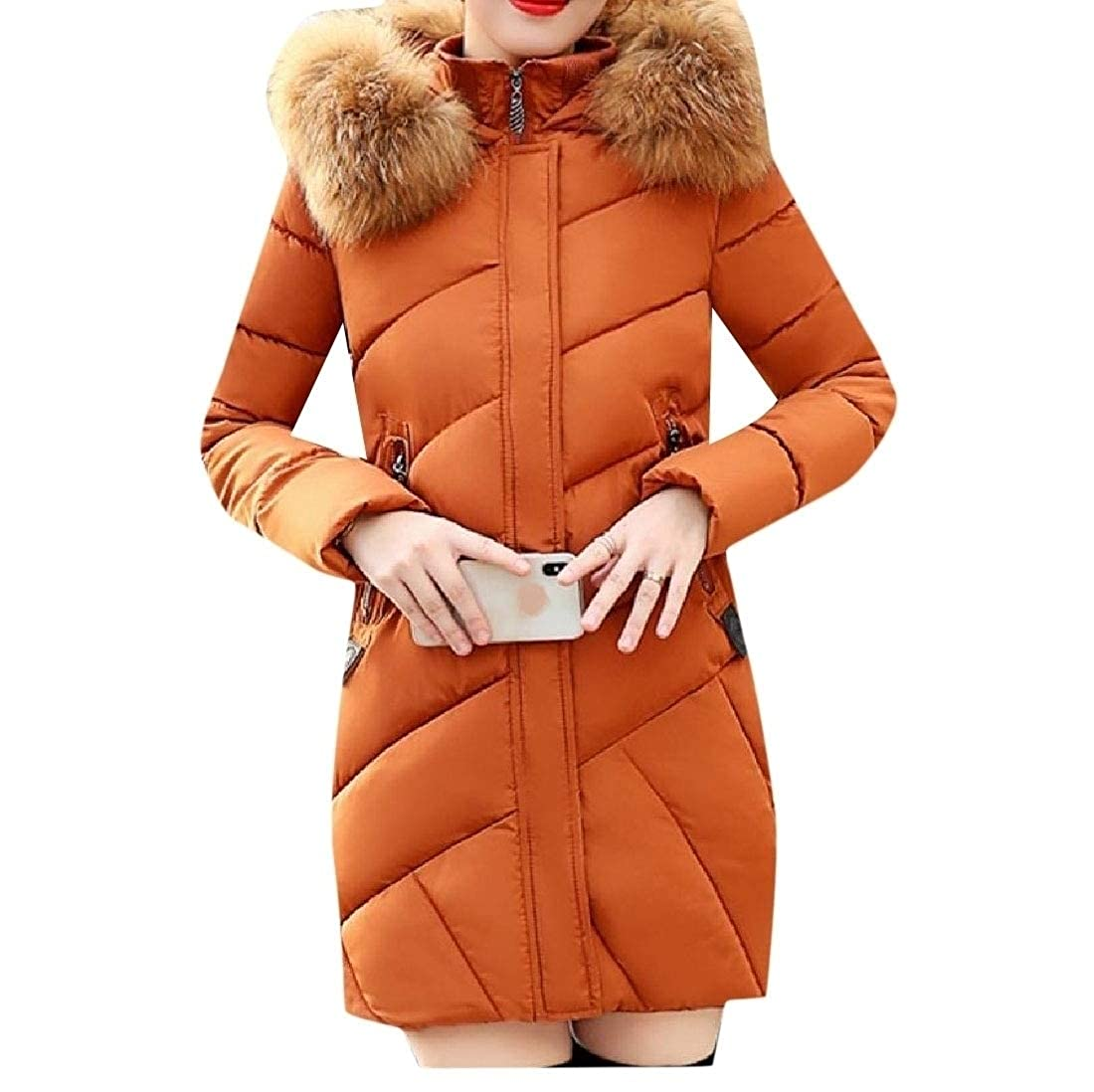YUNY Womens Topcoat Hooded Faux-Fur Trim Casual Wadded Jacket Caramel XL