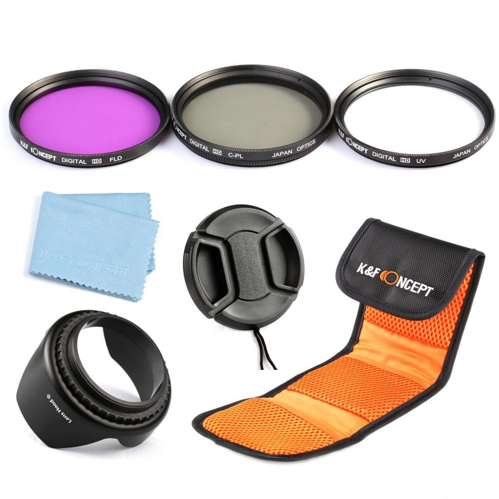 K&F Concept Professional 62mm Lens Filter Kit (UV Slim CPL FLD) Circular Polarizing Fluorescent For Sigma Tamron Sony Alpha A57 A77 A65 DSLR Cameras + Lens Hood + Lens Cap +Cleaning Cloth + Shockproof Filter Bag Shenzhen Zhuoer Photograph SKU0599