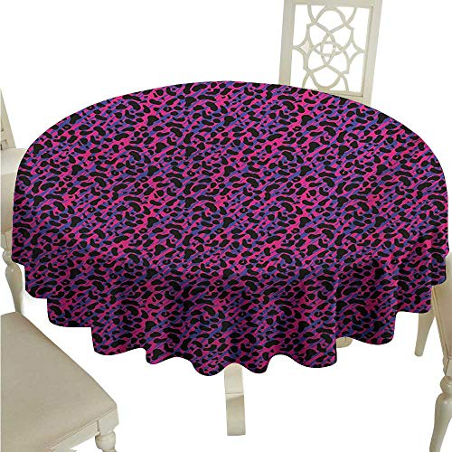 longbuyer Round Tablecloth Jungle,80s Style Vintage Leopard Skin Radiant Colors African Tiger Safari,Royal Blue Hot Pink Black D60,for 24 inch Table
