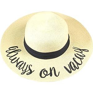 beea0a5e92b Amtal Women Elegant Wide Brim Embroidered Beach Pool Floppy Summer Vacation Sun  Hat
