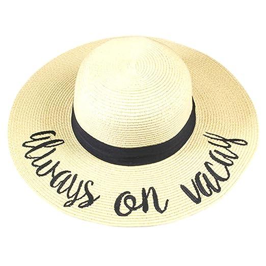 ced028a02f8 Amtal Women Elegant Wide Brim Embroidered Beach Pool Floppy Summer Vacation  Sun Hat (Always on