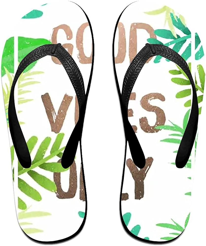 Unisex Summer Beach Slippers Good Vibes Only Flip-Flop Flat Home Thong Sandal Shoes