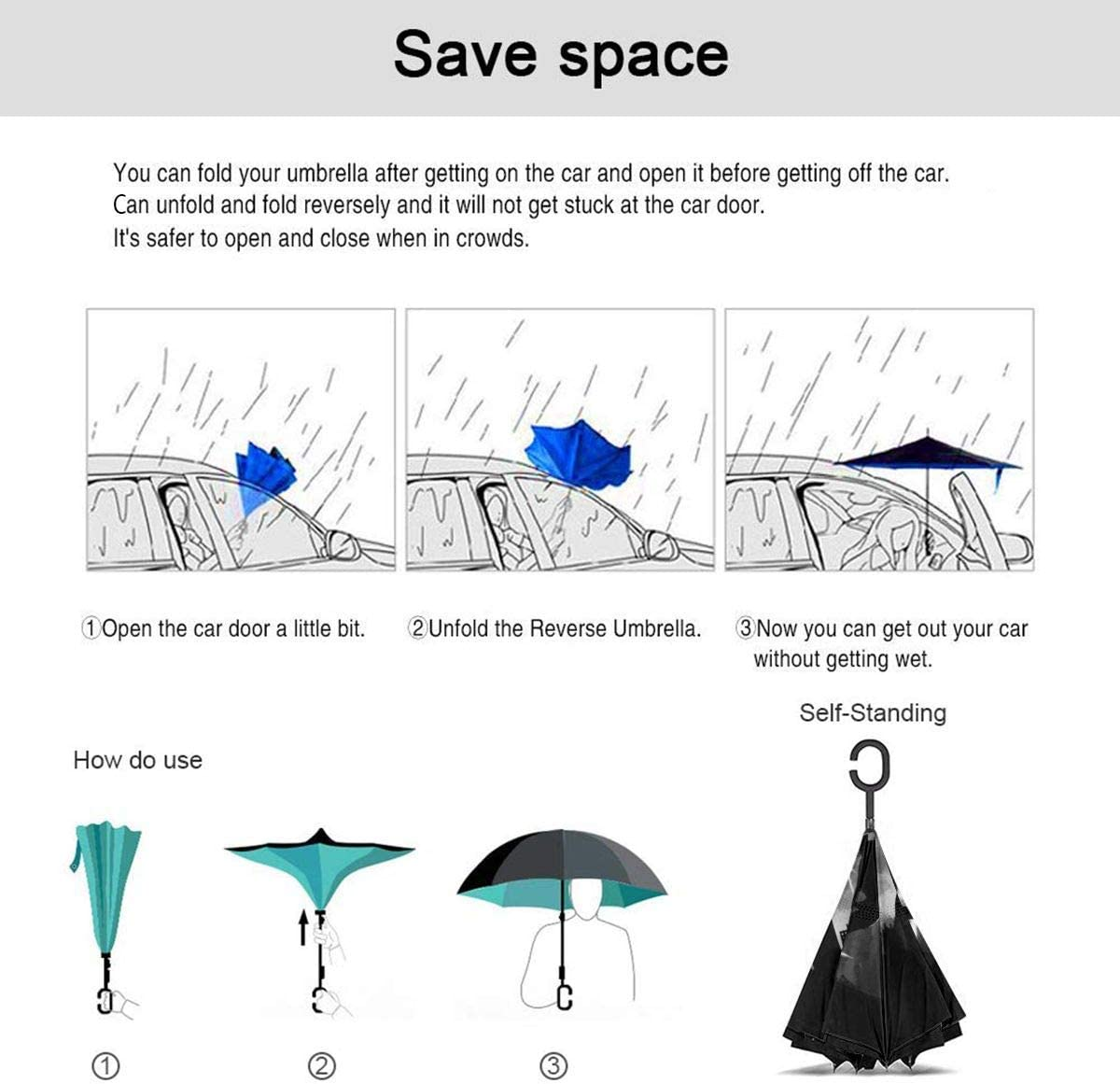 Windproof And Rainproof Double Folding Inverted Umbrella With C-Shaped Handle UV Protection Inverted Folding Umbrellas NEON GENESIS EVANGELION Car Reverse Umbrella