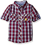 U.S. Polo Assn. Little Boys' Long Sleeve Plaid Two Pleated Pocket Sport Shirt, Engine Red, 5/6