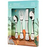 Stanley Rogers Children's Cutlery Dinosaurs 4 Piece, Stainless Steel Cutlery Set, Durable Flatware for Kids, Mirror Polished Silverware in Gift Box (Colour: Silver), Quantity: 1 Set, 4 Pieces