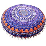 Close-dole Indian Turquoise Floor Pillow Cushion Seating Throw Cover Mandala Hippie Decorative Bohemian Boho Ottoman Poufs Meditation Pillow Cases