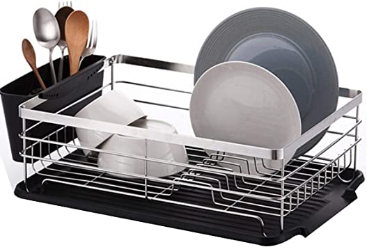 Llygezze Large Stainless Steel Sink Rack Roll Up Dish Drying Rack For Kitchen