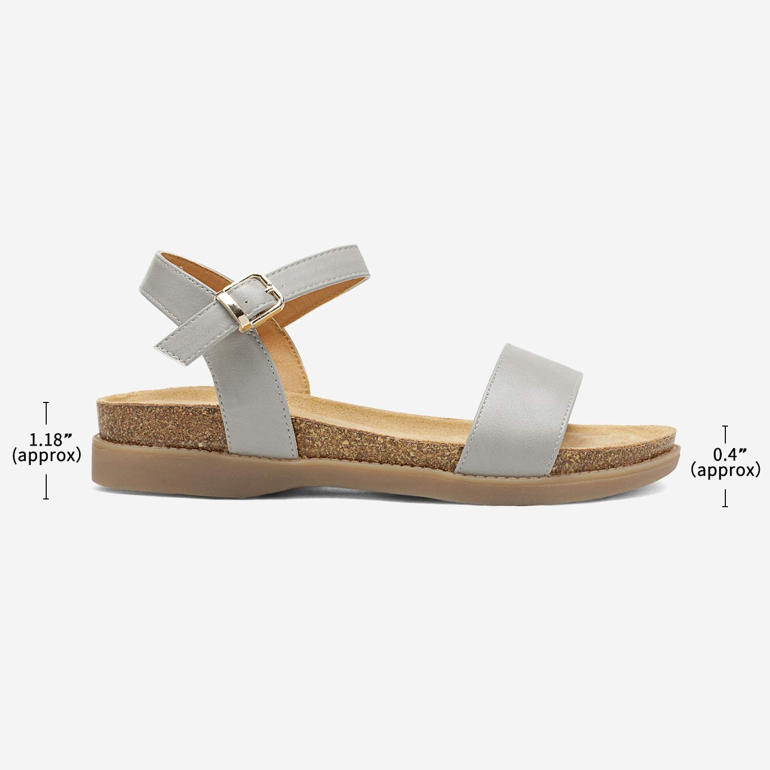 DREAM PAIRS Womens One Band Ankle Strap Soft Flat Sandals