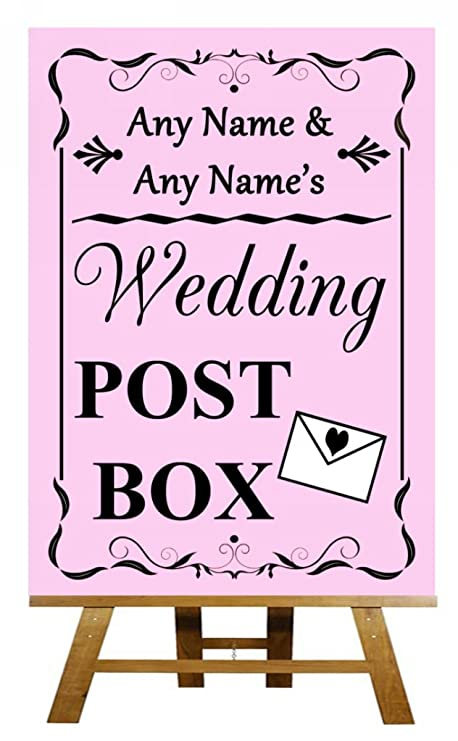 A3 Vintage rosa boda buzón diseño de pizarra con texto en ...