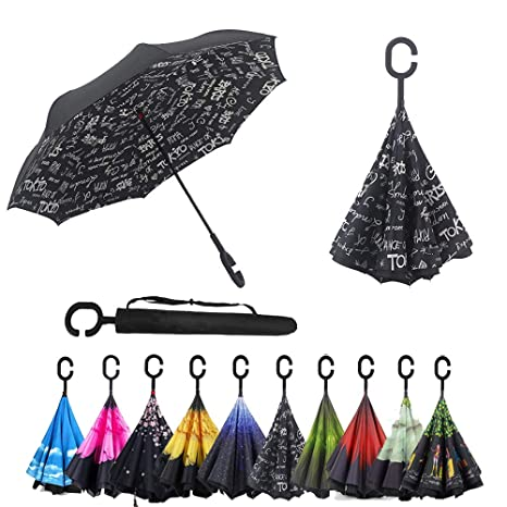 Non-automatic Reverse Inverted Folding Umbrella For Rain Gear Women Uv Protection Windproof Rainproof C Long-handle Umbrellas Home